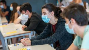 Pruebas de selectividad en la Universitat de Lleida, en el 2020.