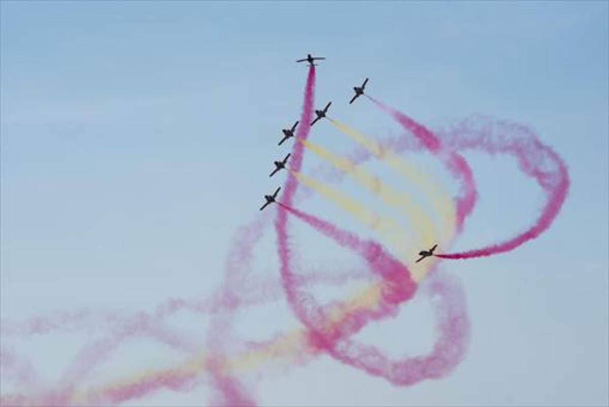 Aviones militares en una exhibición en Lleida.