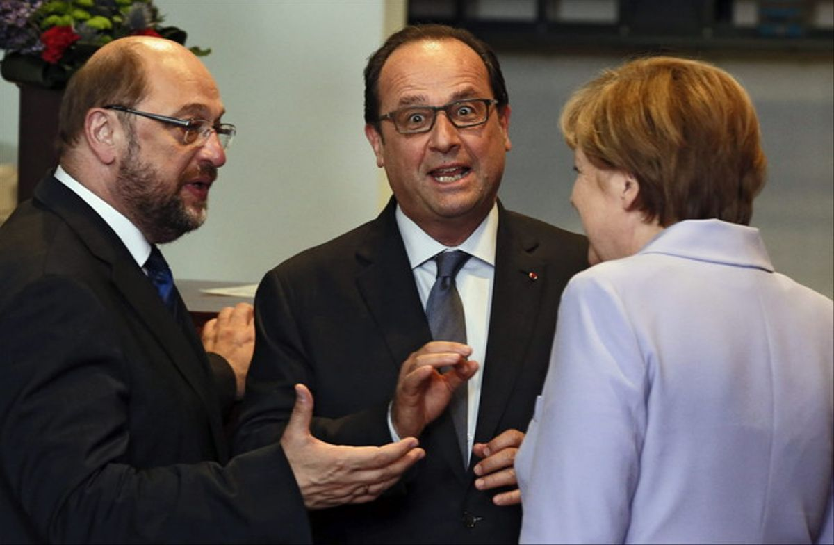 Martin Schulz, François Hollande y Angela Merkel, el pasado 25 de junio en Bruselas.