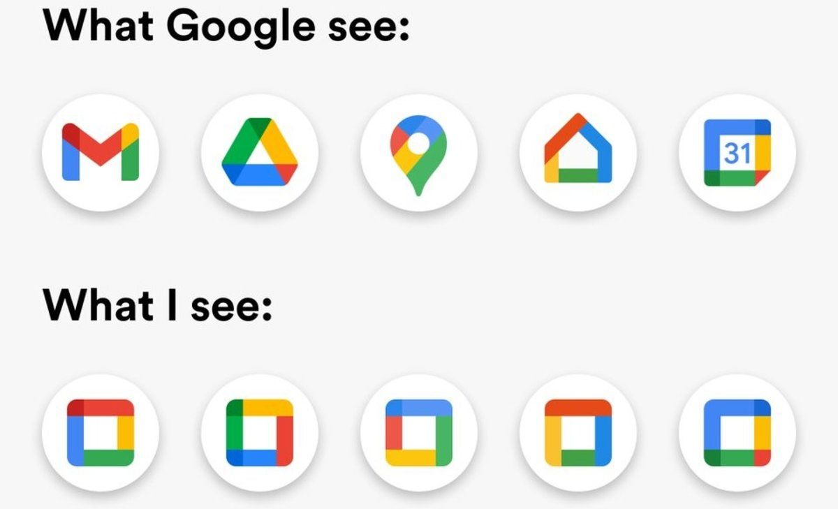Meme sobre el rediseño de los iconos de Google Workspace.