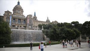 El MNAC, visto desde la Font Màgica de Montjuïc.