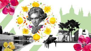 Creatividad para este artículo que combina a Beethoven con el logo del evento y Montjuïc.