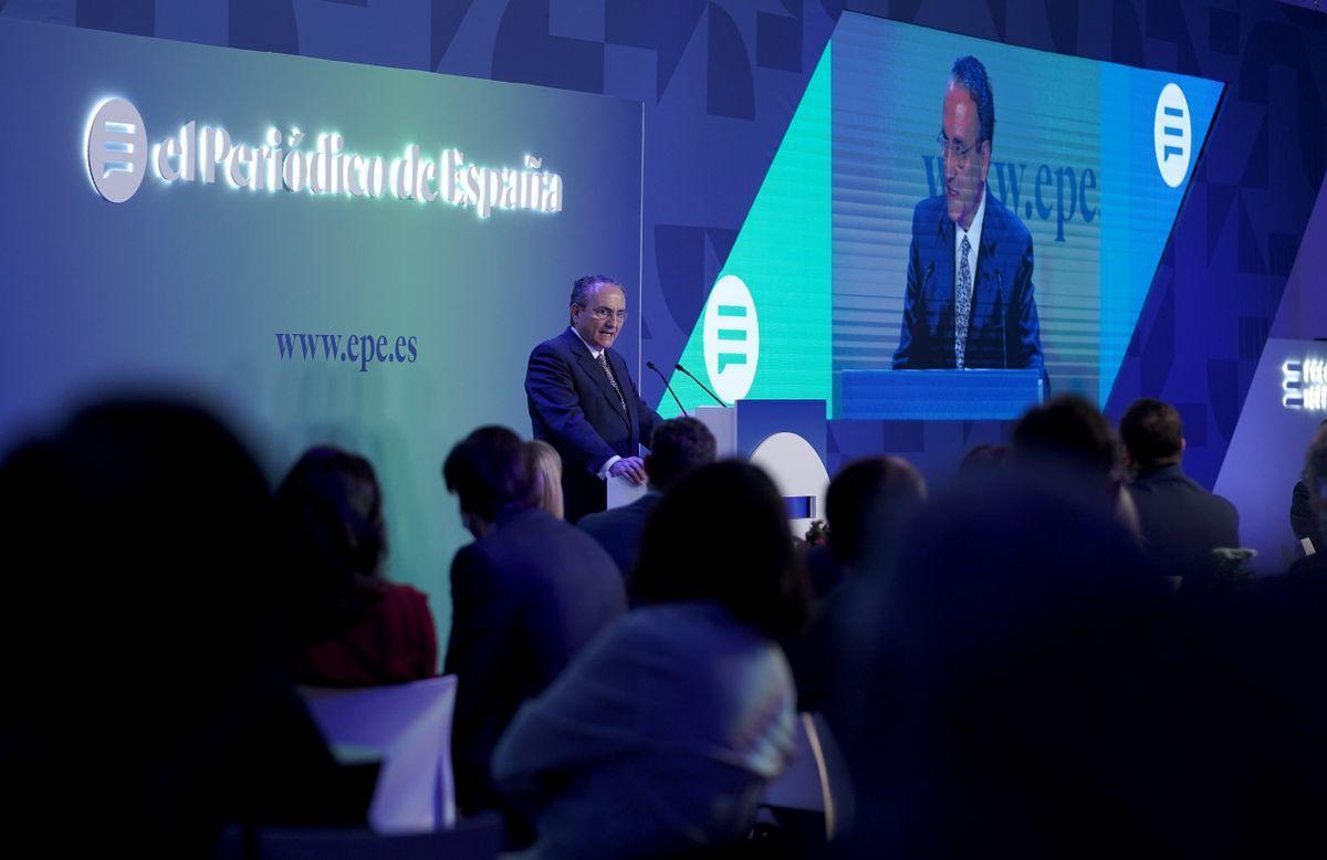 El presidente ejecutivo de Prensa Ibérica, Javier Moll, da un discurso durante el acto de presentación de EL PERIÓDICO DE ESPAÑA.