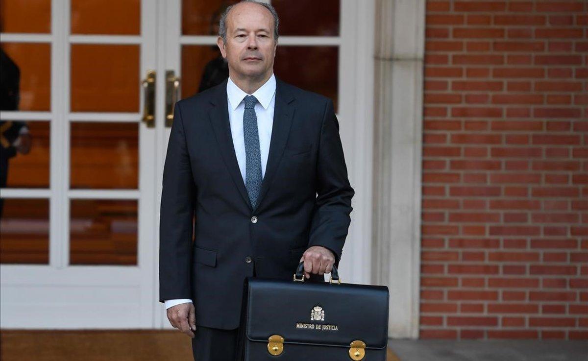 El ministro de Justicia, Juan Carlos Campo, a su llegado a La Moncloa.