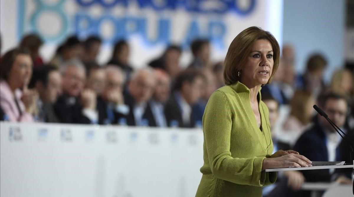 María Dolores de Cospedal, en la clausura del congreso del PP nacional, el pasado 12 de febrero.