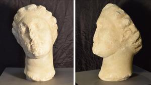 La cabeza romanade mármol blanco descubiertaen Caldes de Montbui.