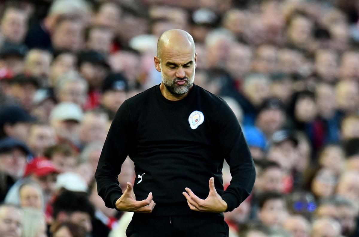 El entrenador del Manchester City, Pep Guardiola, durante un partido.