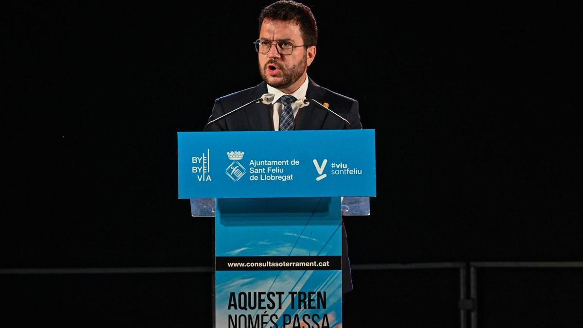 Pere Aragonès interviene en el acto de celebración del soterramiento de las vias del tren en Sant Feliu de Llobregat