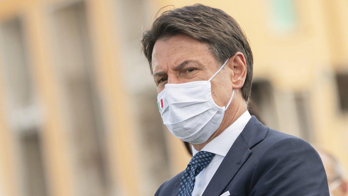 El primer ministro italiano, Giuseppe Conte, durante un acto en conmemoración de las víctimas del terremoto en Amatrice.