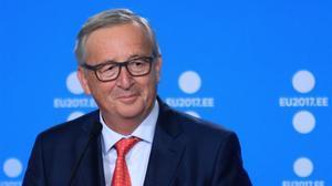 Jean Claude Juncker, presidente de la Comisión Europea, durante la presentación del programa de Estonia.