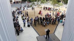 Inauguración de la escuela Mediterrània, en octubre del 2013, con el alcalde Xavier Trias.