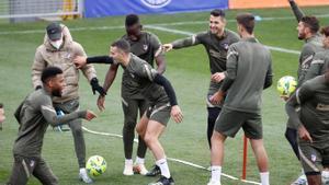 Momento distendido en el último entrenamiento del Atlético de Madrid.