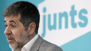 El secretario general de JxCat, Jordi Sànchez, durante una rueda de prensa en la sede del partido en Barcelona, el pasado 7 de mayo.