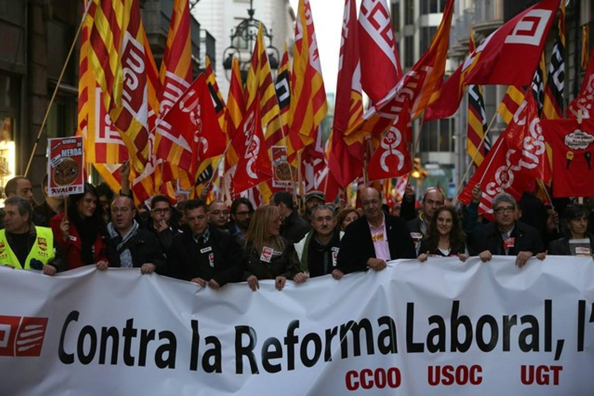 Manifestación contra la reforma laboral, en febrero del 2014 en Barcelona.