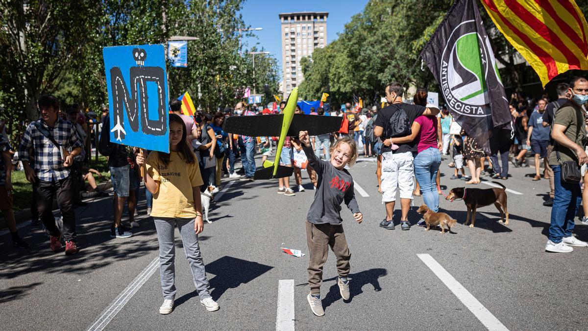 Manifestación contra la ampliación del aeropuerto de Barcelona