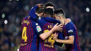 El Barça en el duelo ante el Cultural Leonesa.