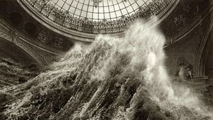'Vientos tornados'. La ola desafía a la cúpula en un combate naturaleza-humanidad.