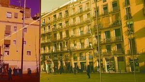 La nueva plaza de Salvador Seguí, vista desde el vestíbulo del edificio de la nueva Filmoteca de Catalunya.