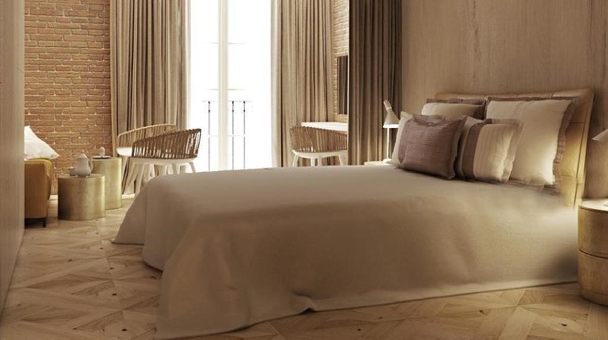 Estancia del Monument Hotel, en paseo de Gràcia, que debutará el próximo febrero.