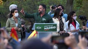 El  líder de Vox, Santiago Abascal, en en acto celebrado en Vallecas