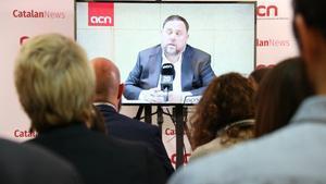 La rueda de prensa de Oriol Junqueras organizada por la ACN en Soto del Real.