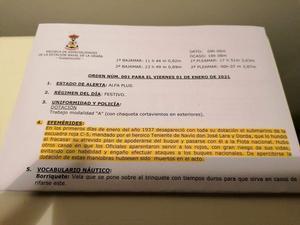 Imagen de la orden publicada en la Estación Naval por el militar destituido.