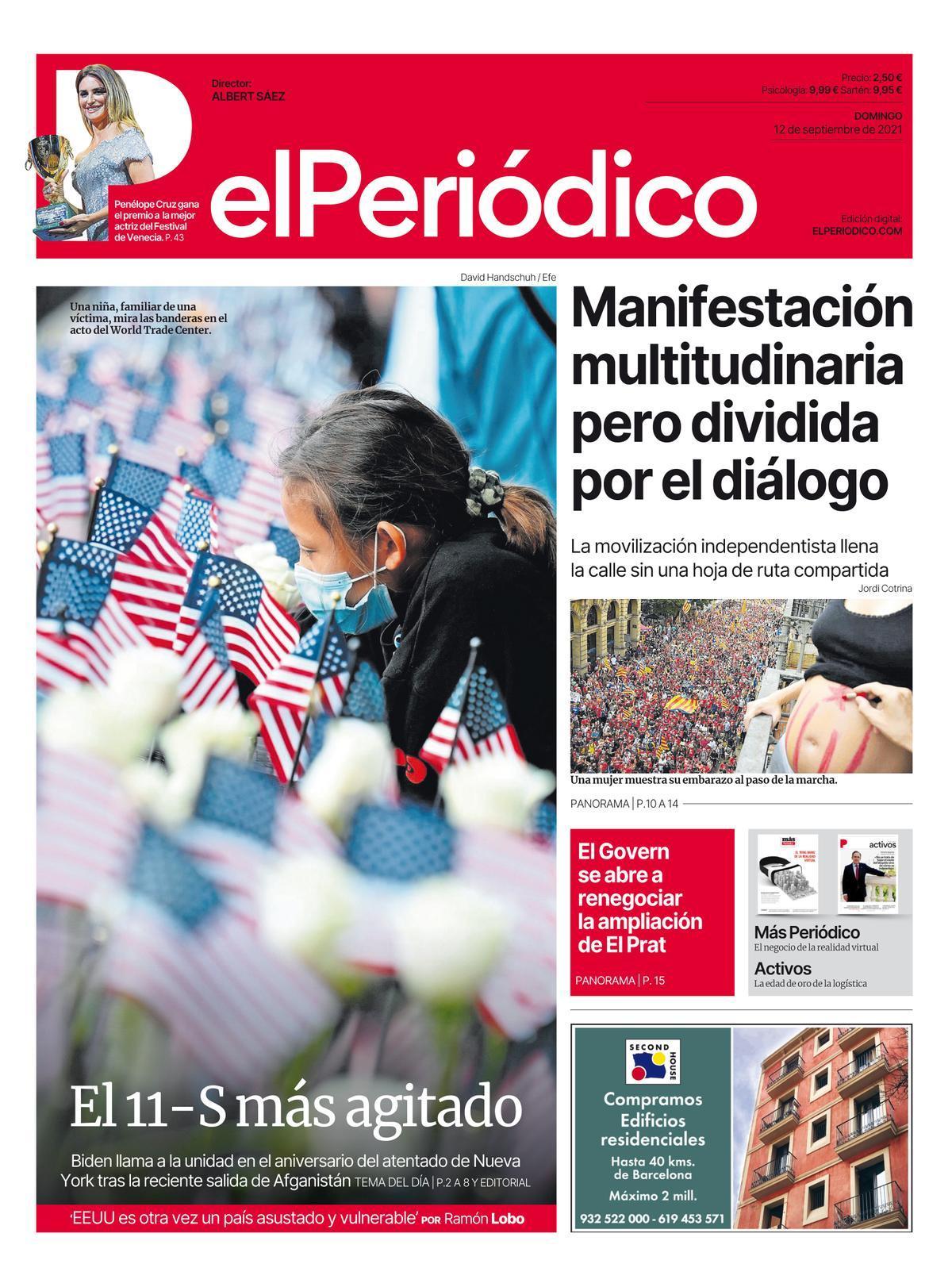 La portada de EL PERIÓDICO del 12 de septiembre de 2021.