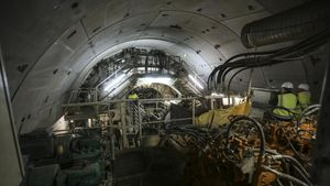 Tuneladora del nuevo acceso ferroviario a la Terminal T1 del Aeropuerto de Barcelona en El Prat de Llobregat.