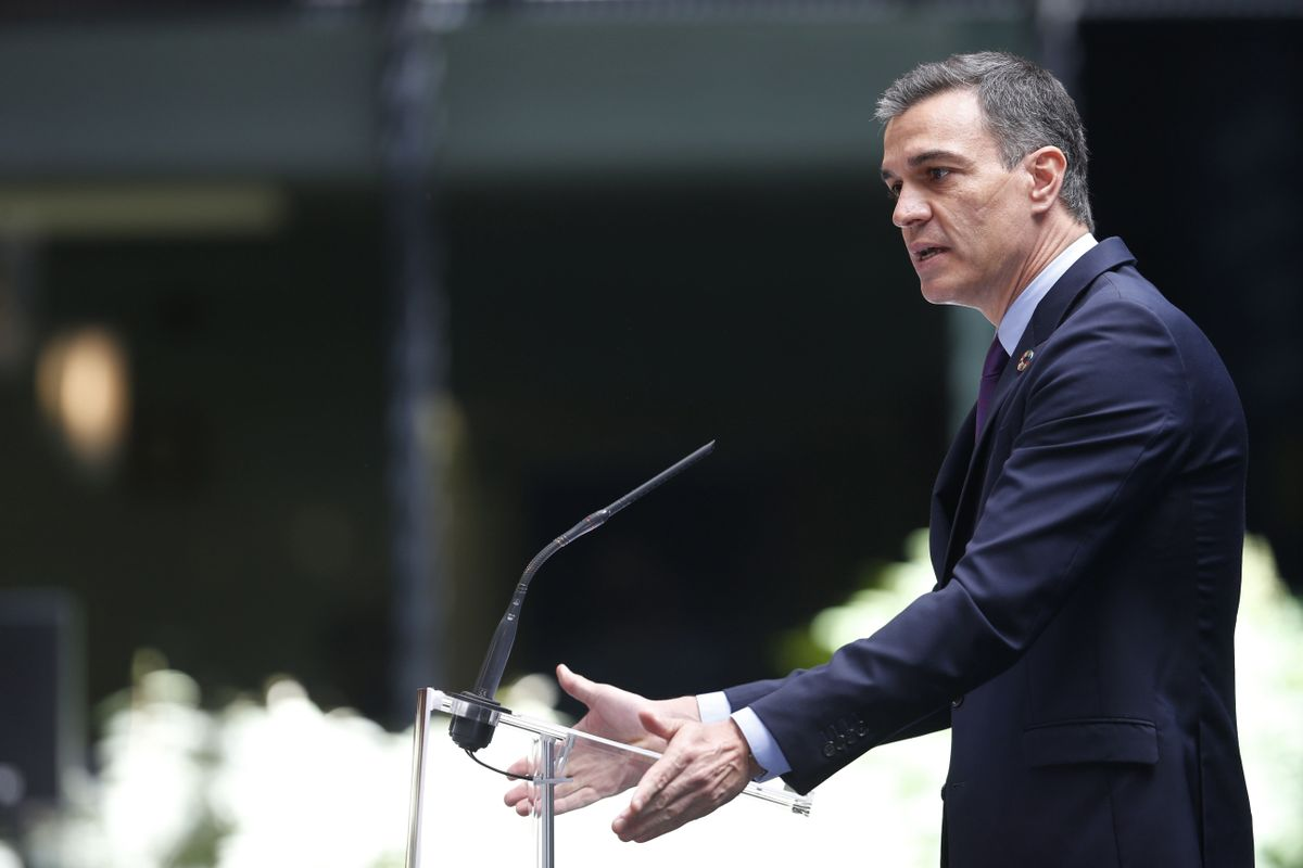 El presidente del Gobierno, Pedro Sánchez, durante la presentación del plan de internacionalización de la economía española, este 26 de mayo en Madrid.