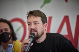 Pablo Iglesias, exvicepresidente segundo y exlíder de Podemos, en el evento 'Gobernar o tener el poder', durante las fiestas del centenerio del PCE, en el auditorio Miguel Ríos de Rivas Vaciamadrid, este 25 de septiembre de 2021.
