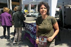 Marta Morell (Podem) durante la campaña a las elecciones municipales de 2019 en Sabadell.