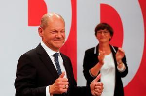 Olaf Scholz, líder del SPD, tras conocer los resultados.