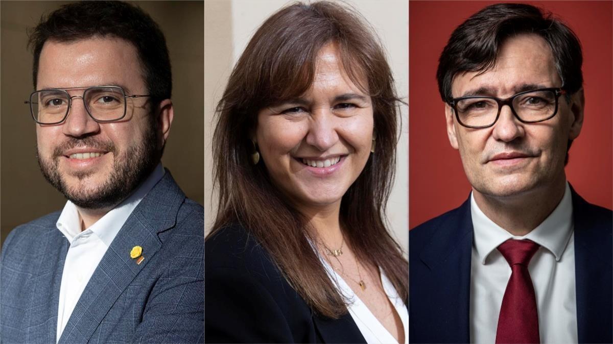 Pere Aragonés, Laura Borràs y Salvador Illa.