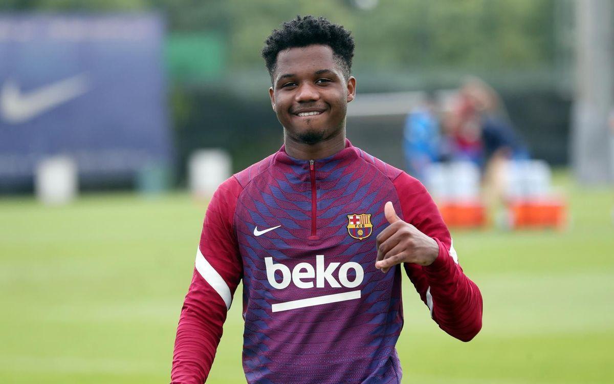 Ansu Fati, en un entrenamiento con el Barça en la ciudad deportiva.