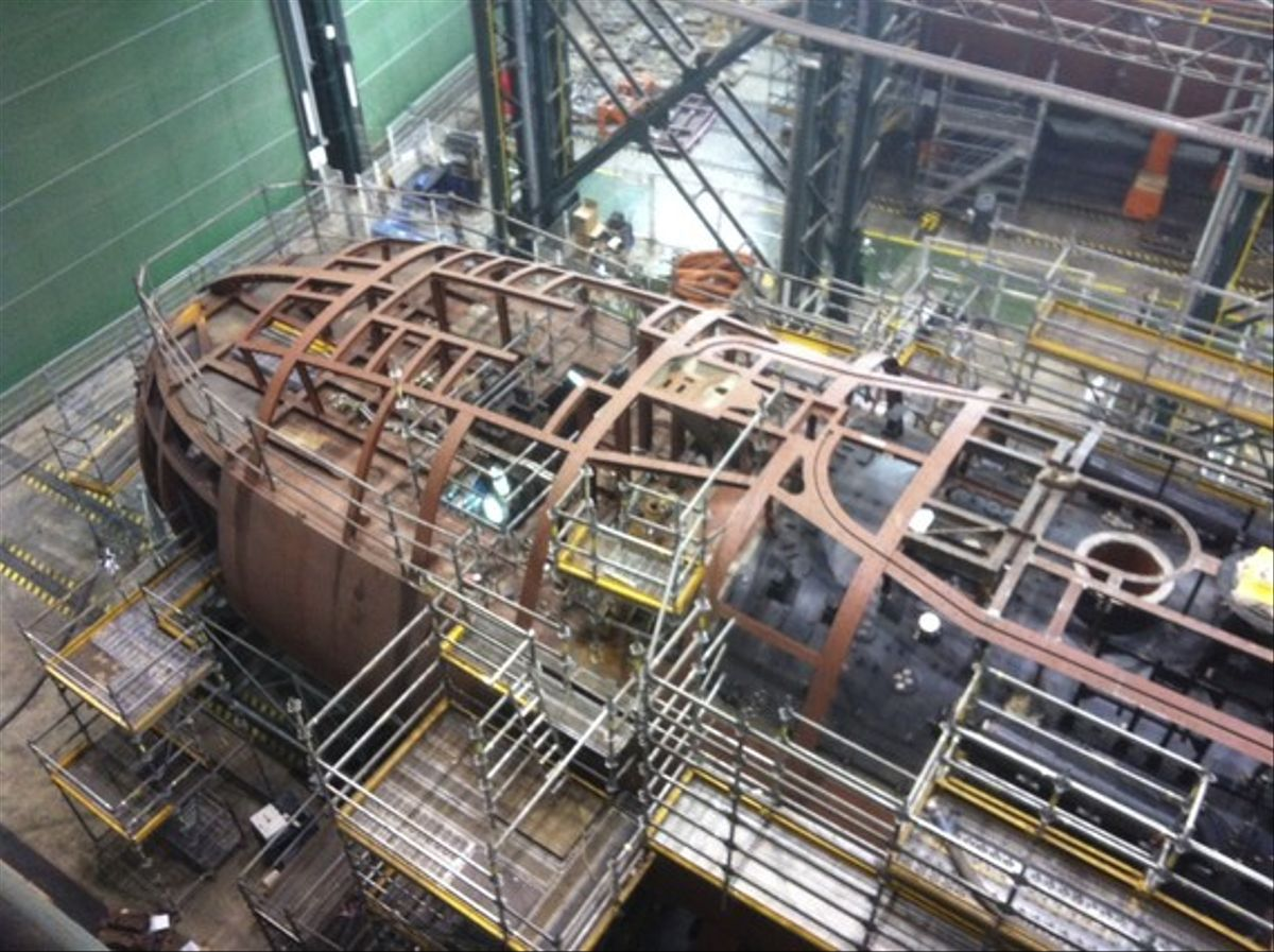 Construcción del submarino S-81, en el astillero de Navantia en Cartagena, en una imagen de archivo.