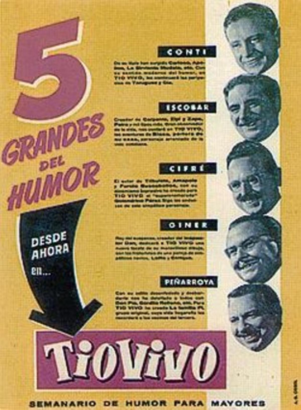 UN MUNDODE VIÑETAS 3Conti, Peñarroya, Escobar y Cifré pasean por una calle de Barcelona (izquierda) en la ilustración de portada del cómic de Paco Roca (derecha), y celebran el primer número de 'Tío Vivo' (arriba). A la izquierda, el personaje de Víctor Mora con Armonía, guionista y traductora de Bruguera. Abajo, promoción de la nueva revista.