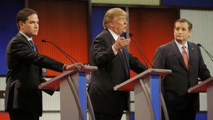 Marco Rubio, Donald Trump y Ted Cruz, en un momento del debate republicano, moderado por la Fox en Detroit.
