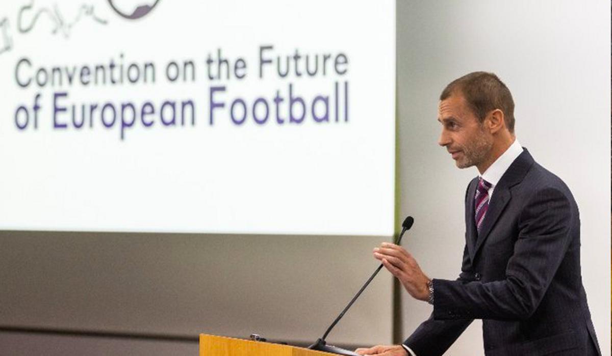 Ceferin, el presidente de la UEFA, en un acto.