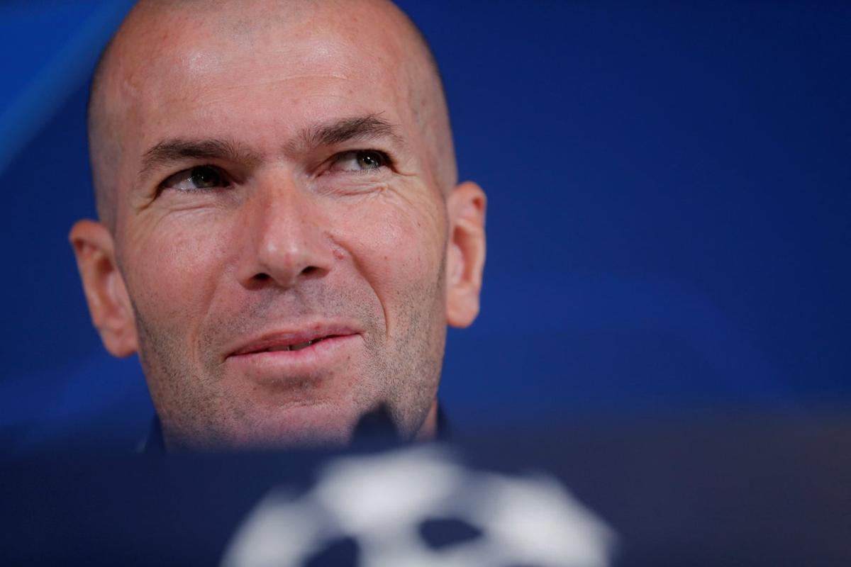 Zinedine Zidane, técnico del Madrid, en rueda de prensa antes de recibir al PSG.