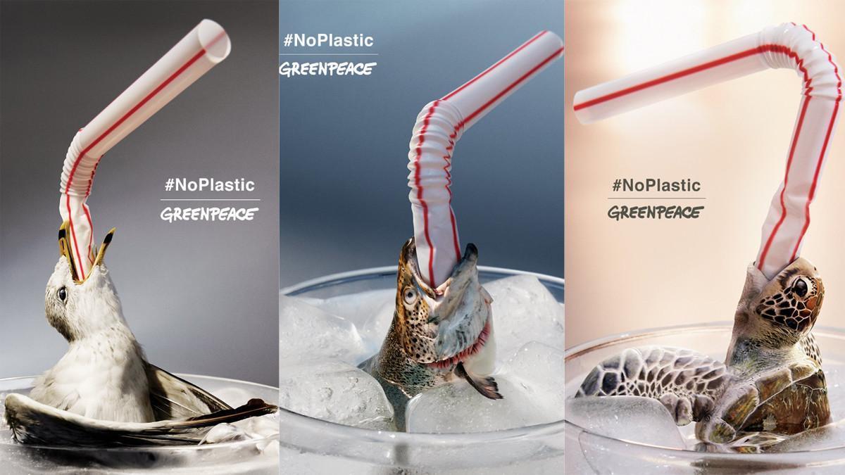 Campaña de Greenpeace España contra el consumo de pajitas de plástico.