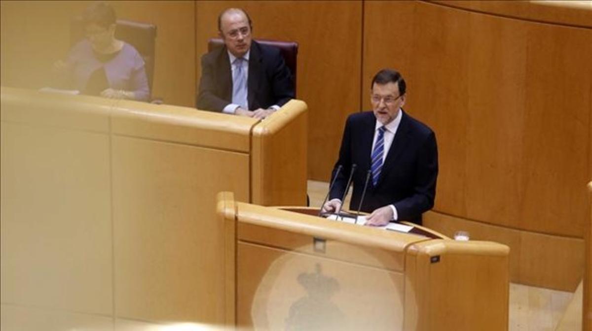 Rajoy, durante su comparecencia en el Congreso.