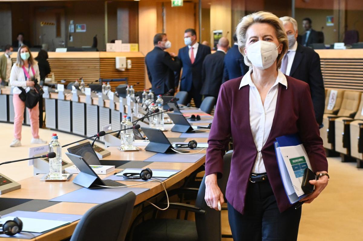 Ursula von der Leyen en el Parlamento europeo este jueves.