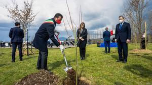 Mario Draghi en el homenaje a las víctimas del covid-19 en Bérgamo.