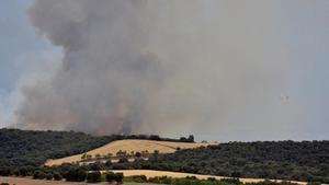 Fuego declarado en la provincia de Huesca, este domingo.