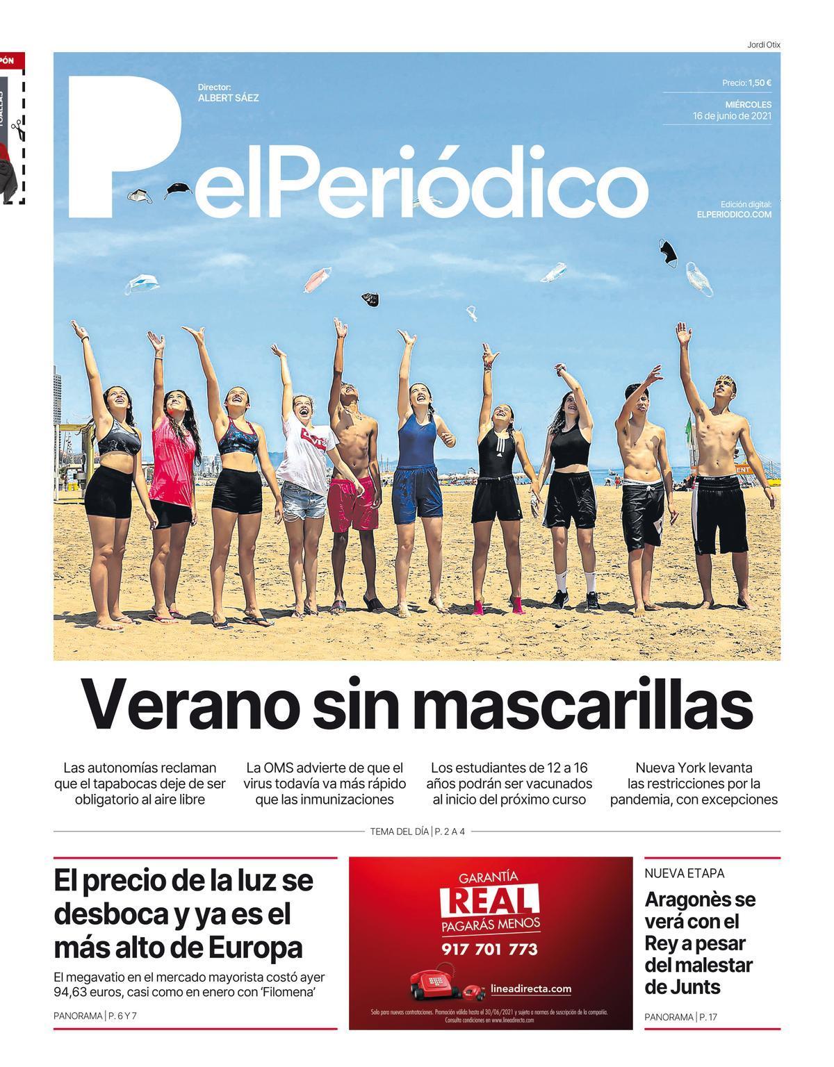 La portada de EL PERIÓDICO del 16 de junio de 2021