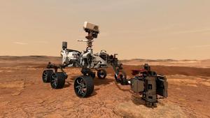 Representación artística del robot 'Perseverance' sobre la superficie de Marte.