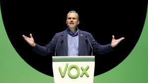 El secretario general de Vox, Javier Ortega Smith, en el acto de su partido en el Palacio de Vistalegre de Madrid, el pasado octubre.