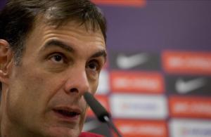 Bartzokas, en la sala de prensa del Barça