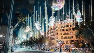 El paseo de Gràcia, en las Navidades del 2018.