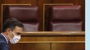 El presidente del Gobierno, Pedro Sánchez, el pasado 17 de junio, en la última sesión de control al Gobierno bajo el estado de alarma nacional.